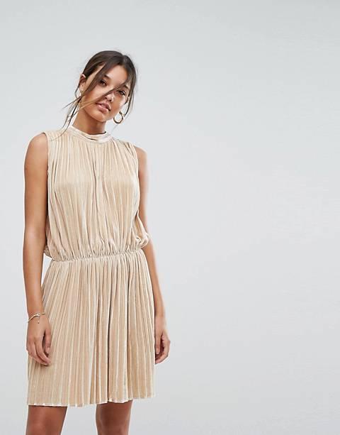 Aeryne Sleeveless Velvet Pleated Dress