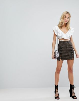 AFRM Lace Up Denim Mini Skirt