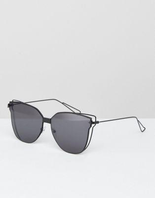 AJ Morgan Flat Lens Cat Eye Sunglasses in Black