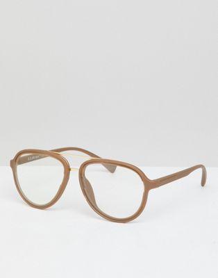 Bild 1 von AJ Morgan – Goldfarbene Pilotenbrille mit transparenten Gläsern