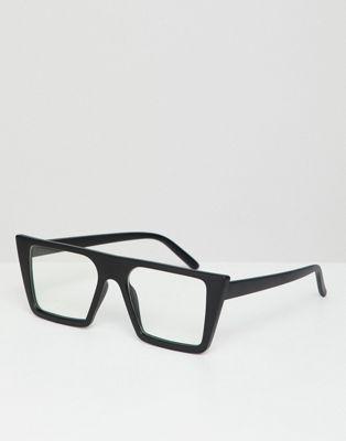 AJ Morgan - Lunettes carrées à verres transparents - Noir