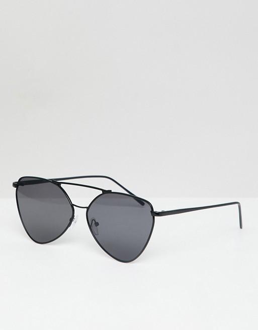 AJ Morgan - Lunettes de soleil aviateur en métal - Noir