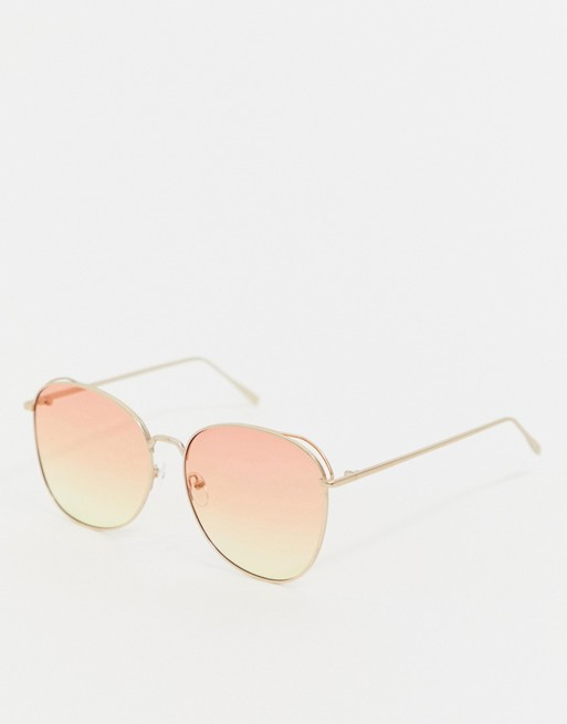 Image 1 of AJ Morgan pink ombre tinted lens aviator sunglasses