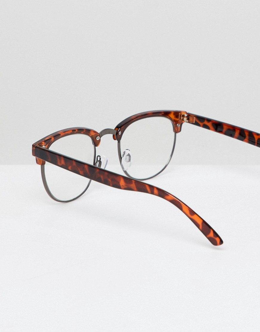 Aj Morgan Retro Clear Lens Glasses In Tort by Aj Morgan