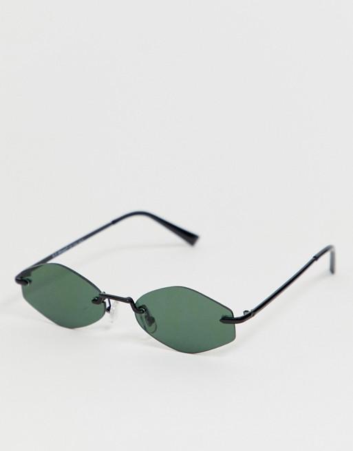 AJ Morgan slim rectangular sunglasses in black