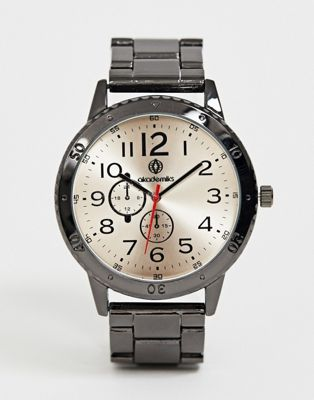 Akademiks mens bracelet watch with white dial