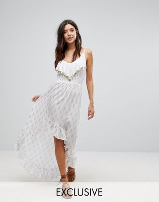 Akasa Coin Embellished Spilt Hem Maxi Beach Dress