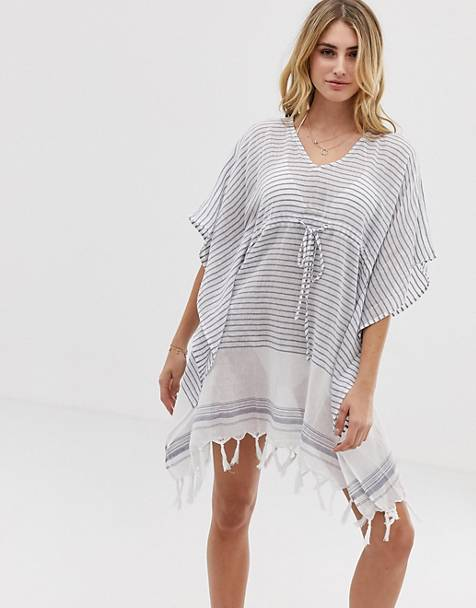 Akasa Exclusive beach caftan dress in stripe