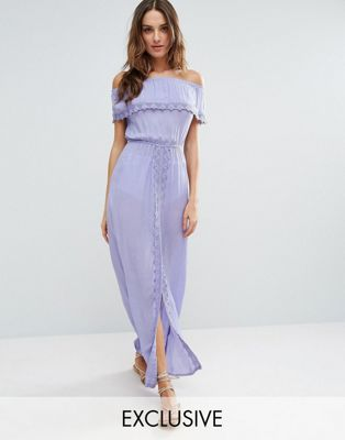 Akasa Off The Shoulder Ruffle Beach Dress