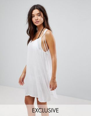 Akasa Tie Shoulder White Beach Dress