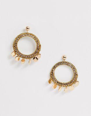 ALDO Afilacien coin hoop earrings in gold