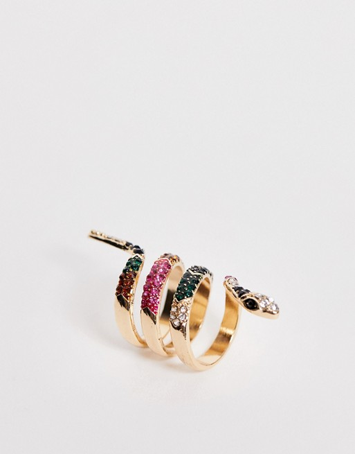 ALDO – Asalin – Różnokolorowy pierścionek w kształcie węża z imitacji złota