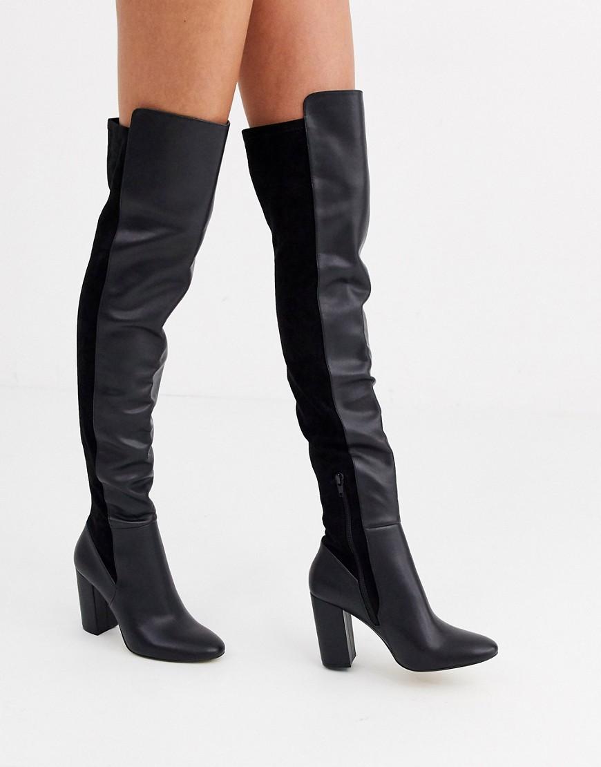 aldo -  – Overknee-Stiefel mit Blockabsatz-Schwarz
