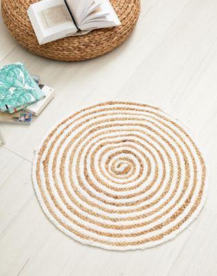 Alfombra redonda de yute y algodón con diseño en espiral de Chickidee