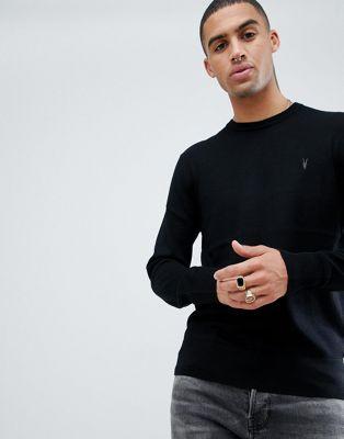 AllSaints 100% merino crew neck jumper in black with ramskull logo