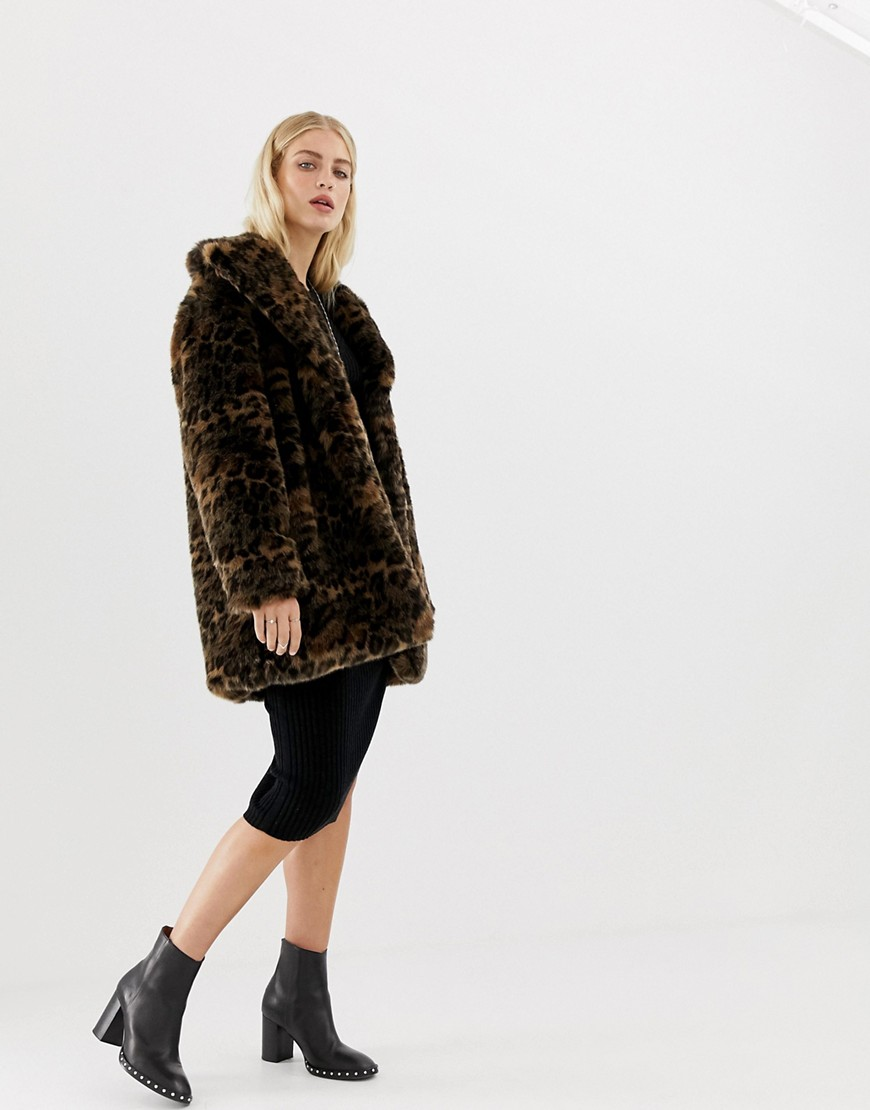 All Saints Amice Faux Fur Coat In Leopard by All Saints