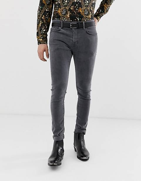 AllSaints cigarette fit jean with skinny stretch in black wash