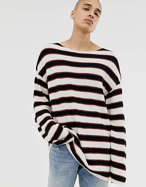 AllSaints dropped shoulder ecru sweater with black stripe