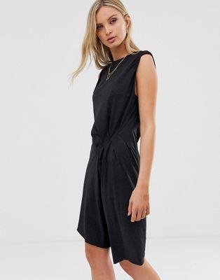 AllSaints – Duma – Asymmetrisches Minikleid aus Jersey