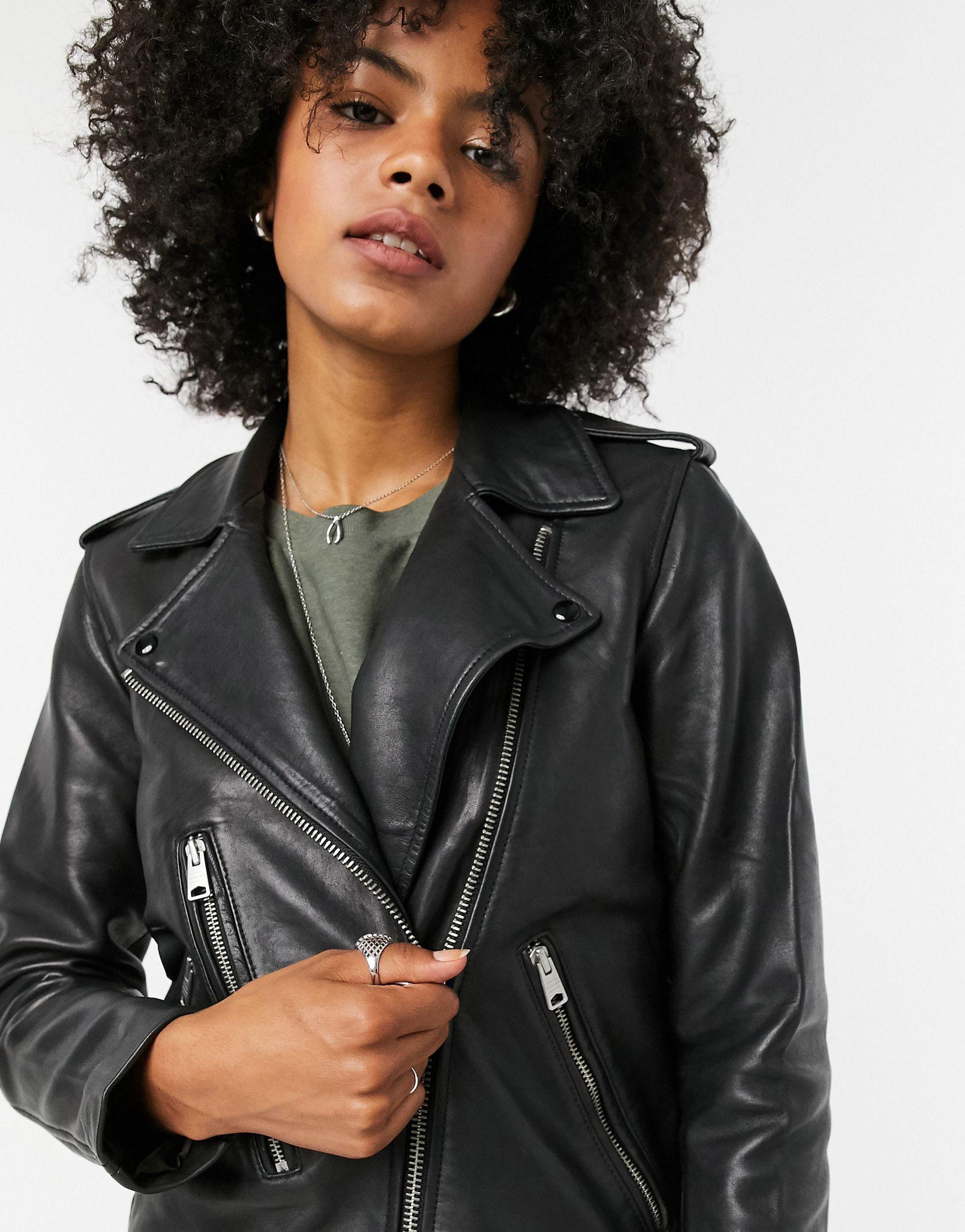 AllSaints Elva leather biker jacket in black -  Price Checker