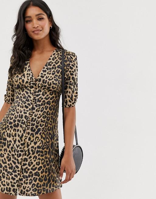 AllSaints kota leopard print mini tea dress