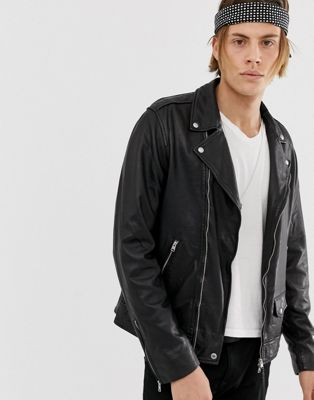 AllSaints leather biker jacket in black