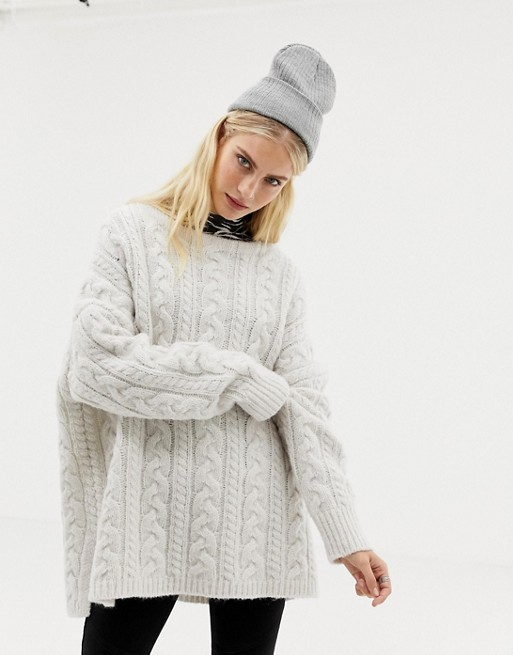 AllSaints Marcel oversized sweater in cable knit