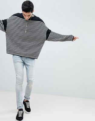 AllSaints Oversized Jumper With Breton Stripe