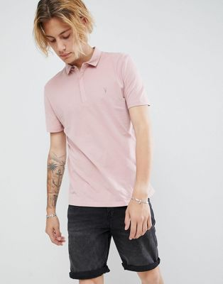 Image 1 of AllSaints polo shirt in peached cotton