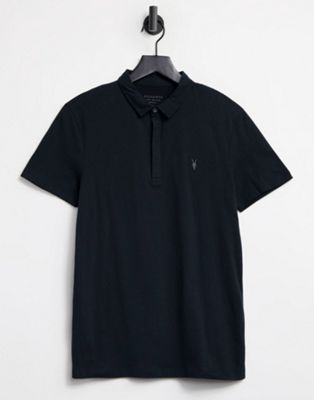 Image 1 of AllSaints polo shirt with branding