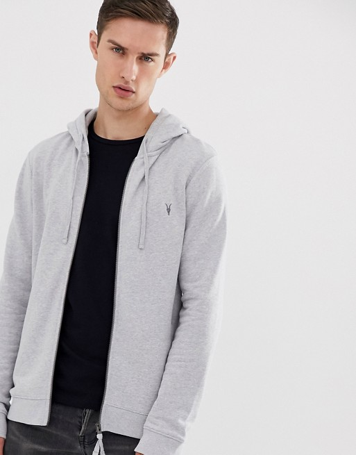 All Saints Raven Ramskull Logo Zip Through Hoodie In Gray Marl by All Saints