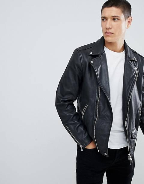 AllSaints – Schwarze Bikerjacke aus Leder