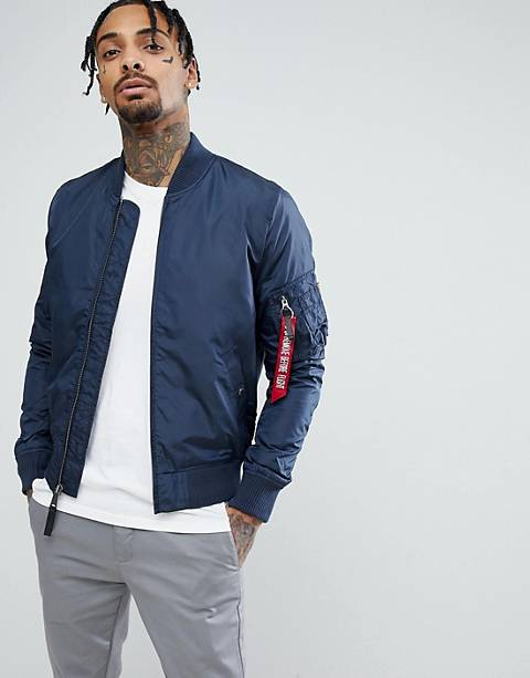 Alpha Industries MA1-TT Bomber Jacket Slim Fit in Navy