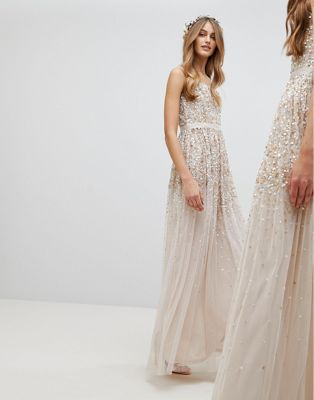 Amelia Rose Embellished Ombre Sequin Cami Strap Maxi Dress