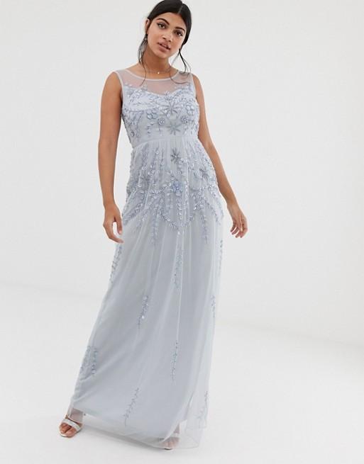 Amelia Rose - Robe longue sans manches à ornements - Bleu pastel