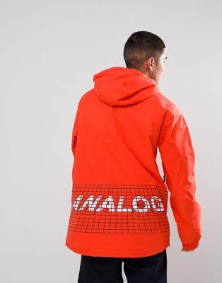 Bild 1 av Analog – Caldwell Overhead – Röd isolerande skidjacka med huva och logga på ryggen