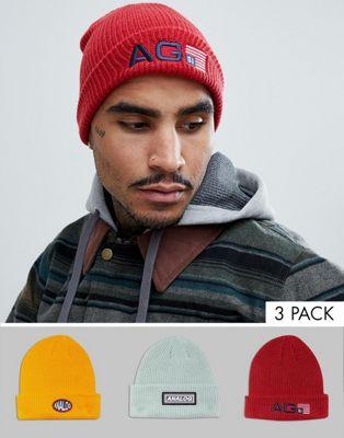 Analog - Confezione da 3-berretti rosso/giallo/grigio