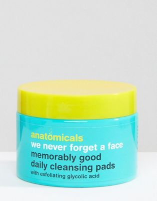 Anatomicals We Never Forget A Face - Glycolic Face Cleansing Pads x 60 Wipes