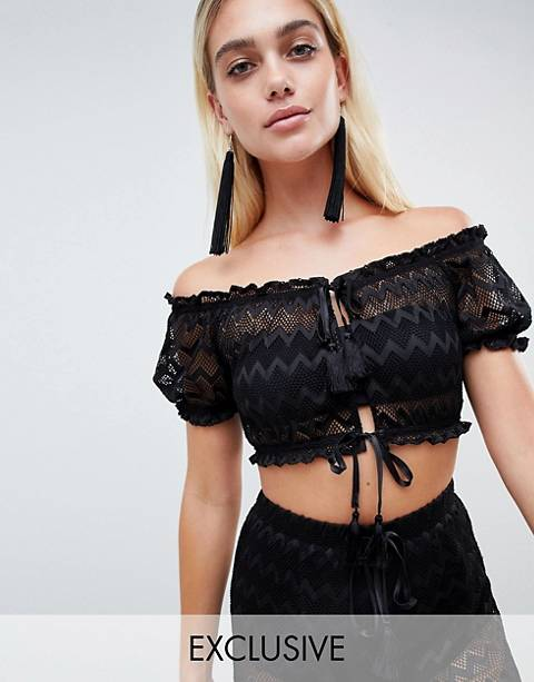 And Co Exclusive zig zag mesh pool party crop top