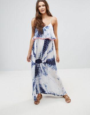 Anmol – Maxi-Strandkleid in Batikoptik mit Neonverzierung