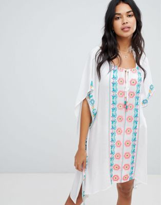 Anmol Oversized Beach Kaftan With Embroidered Front