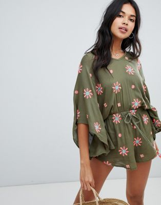 Anmol Oversized Beach Playsuit With Floral Embroidery