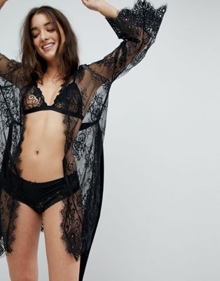 Ann Summers Sascha Black Lace Robe