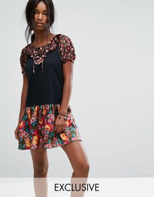 Image 1 of Anna Sui Exclusive Jersey Dress with Contrast Floral Trim