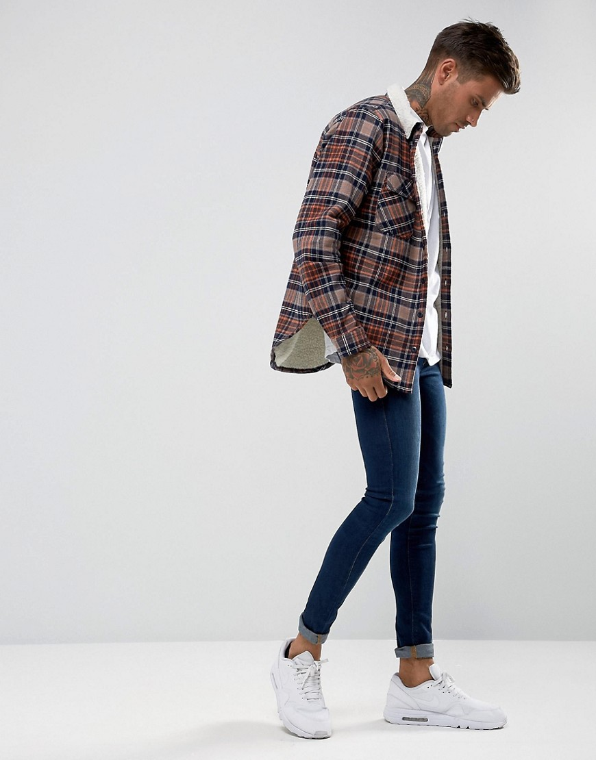 Another Influence Checked Overshirt With Fleece Lining by Asos Brand