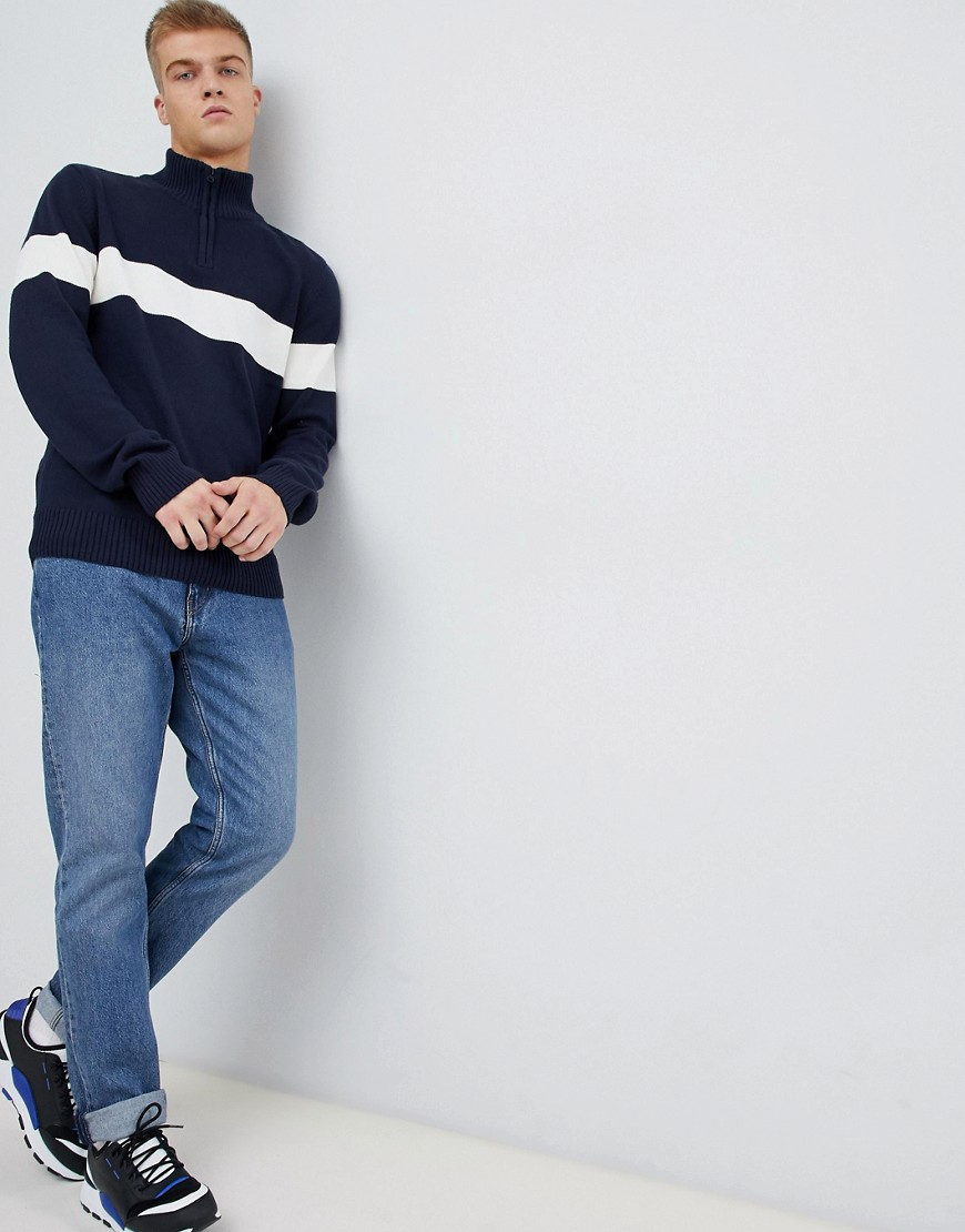 Another Influence Chest Stripe Half Zip Sweater by Sweater