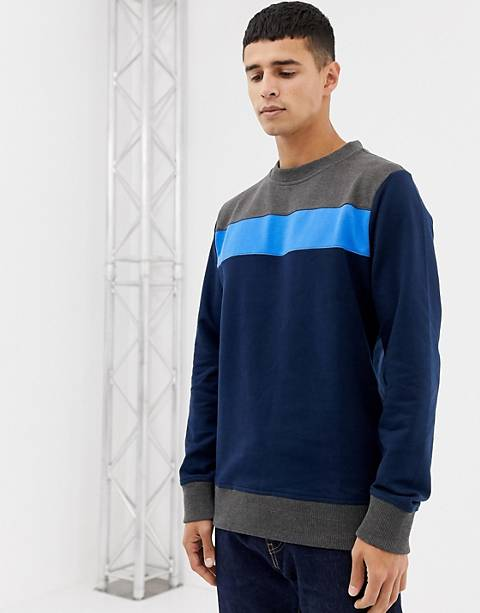 Another Influence Contrast Panel Crew Neck Sweater