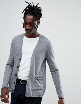 Antony Morato knitted cardigan in grey alpaca wool blend