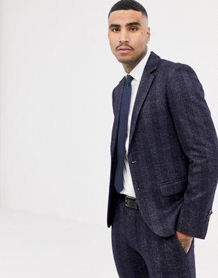 Antony Morato – Schmal geschnittene Anzugjacke in Marineblau kariert
