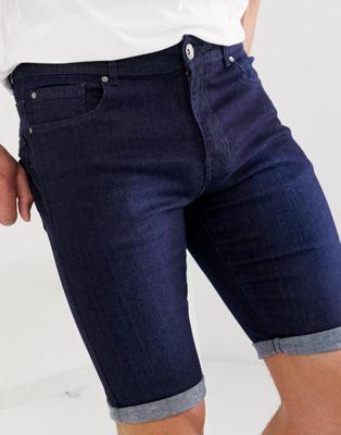 APT denim shorts in dark wash blue